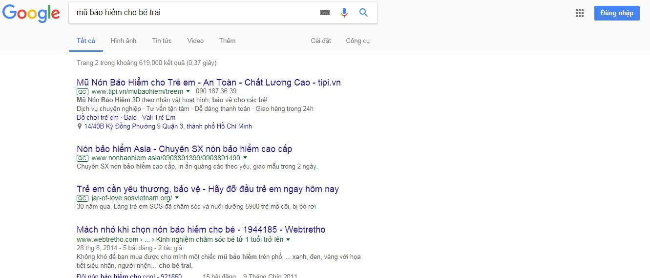 hiển thị quảng cáo tìm kiếm google adwords