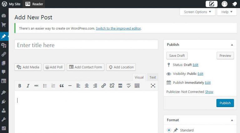 khung soạn thảo wordpress